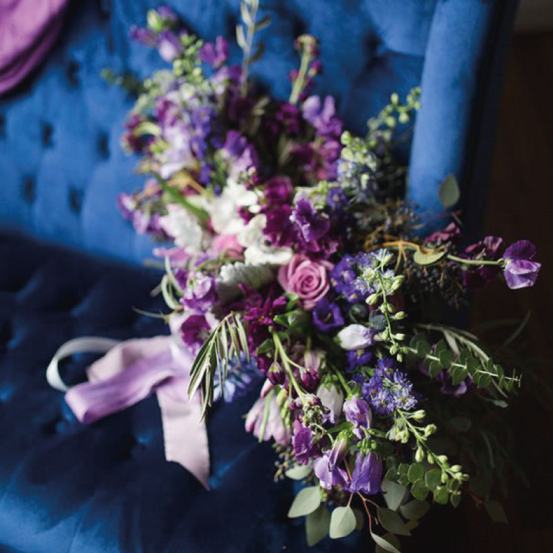 Wedding color scheme classic blue and purple