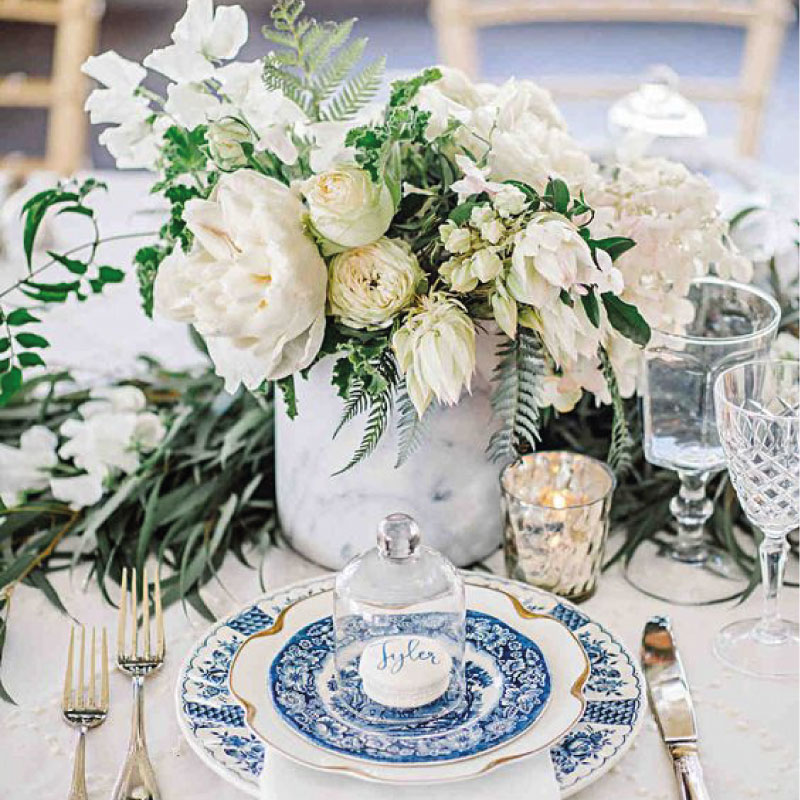 Wedding color scheme classic blue, green and white