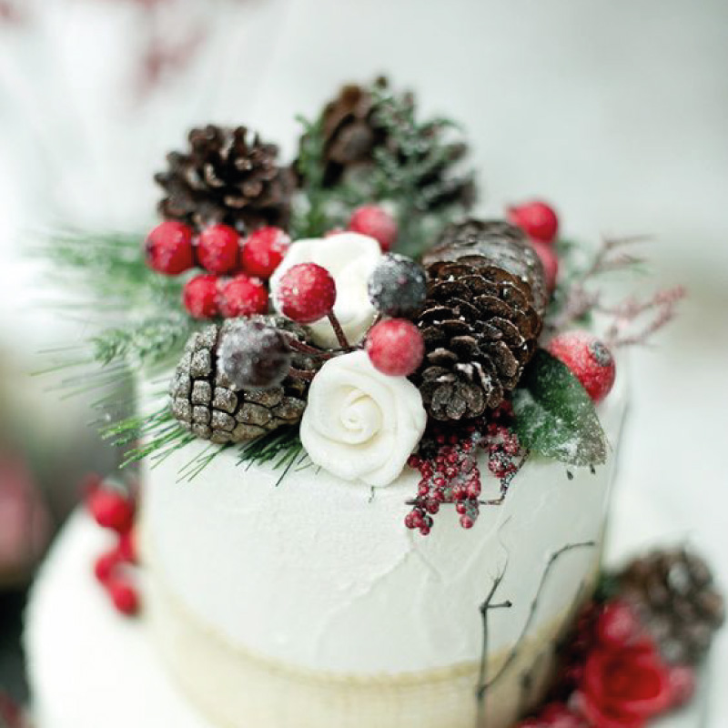winter wedding cake. Rustic winter wedding in Italy